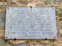 Placa commemorativa del naixement de mossèn Mas i Domenech