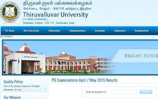 Thiruvalluvar University Results 2015