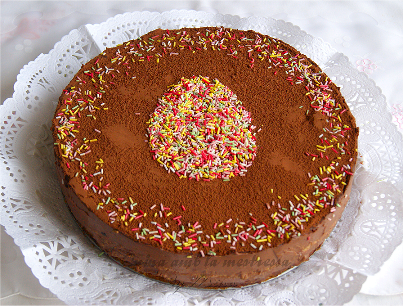 Tarta de galletas con dos chocolates