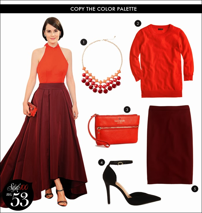 Michelle Dockery Prada dress, InStyle, fall trends, orange, burgundy, two-toned, j crew, nordstrom, kate spade, wristlet, statement necklace, what to wear holidays, what to wear work