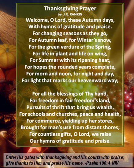 Thanksgiving Prayer by J.E. Rankin #devotional #Psalm #scripture
