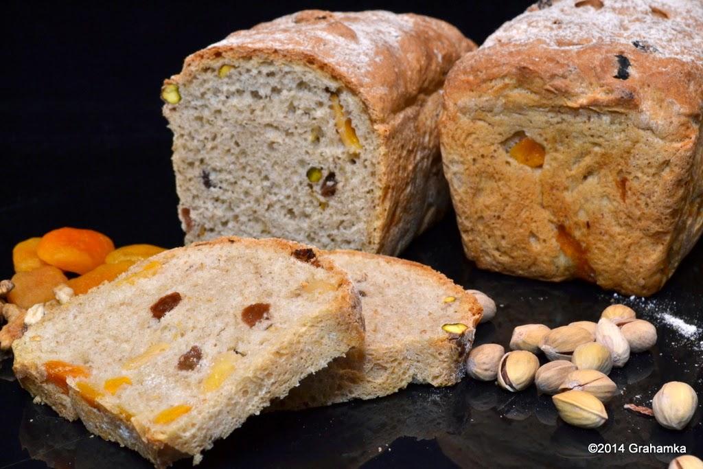 Chleby, kromki owoce i orzechy