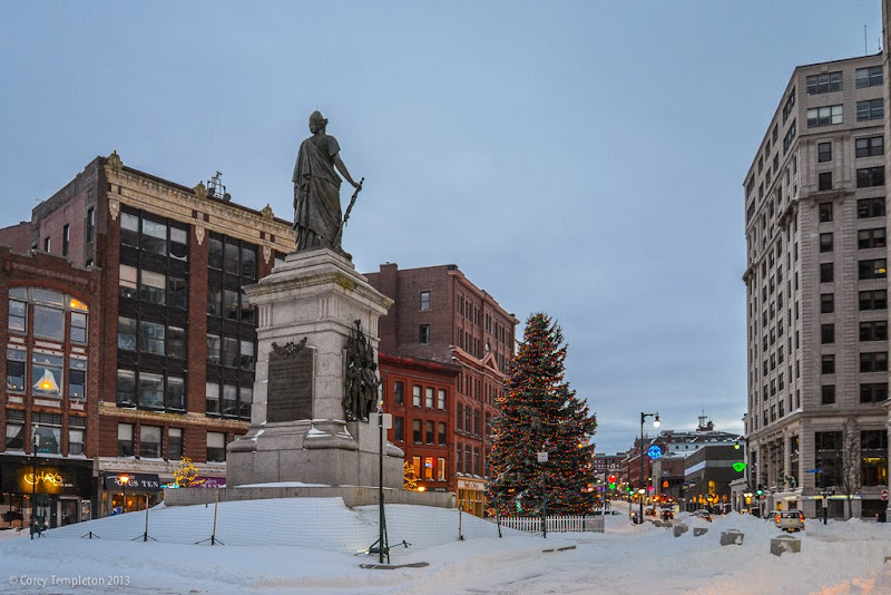 Portland, Maine Winter Monument Square Christmas Tree and Statue photo by Corey Templeton