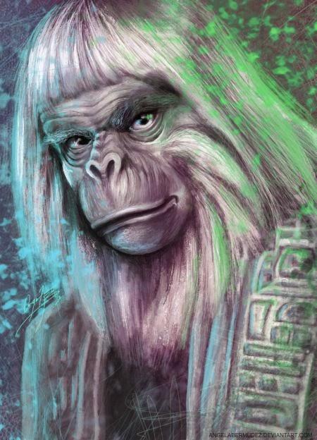 Angela Bermudez deviantart pinturas filmes cultura pop cinema Dr. Zaius de O Planeta dos Macacos de 1968
