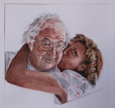 Retrato de dos personas dandose un beso en acuarela