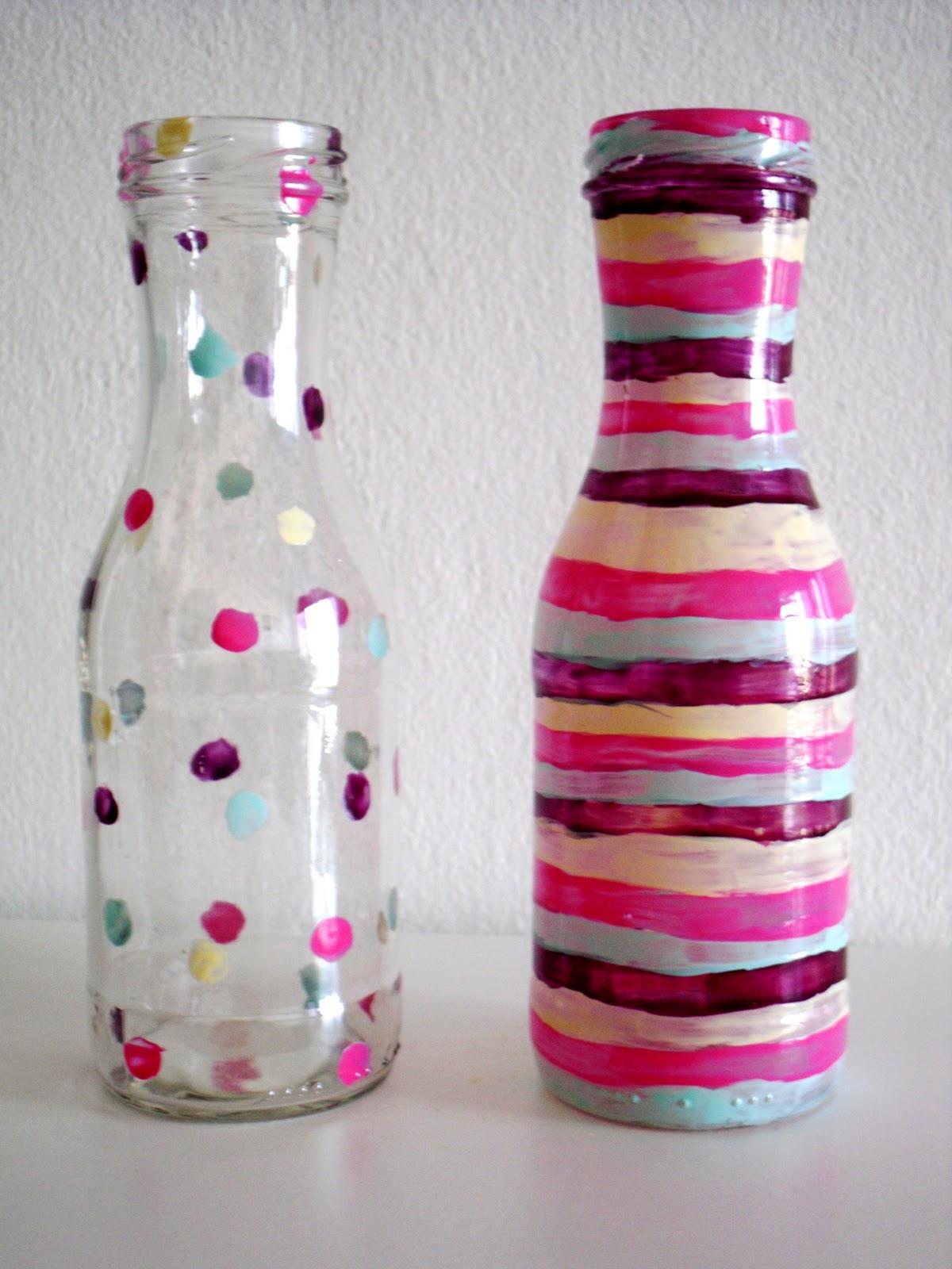 Como pintar botellas diy flessen en vazen schilderen - Como pintar botellas de plastico ...