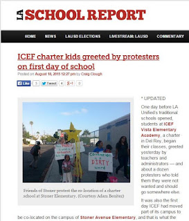 ICEF Vista Charter greeted by protesters on first day of co-location at Stoner