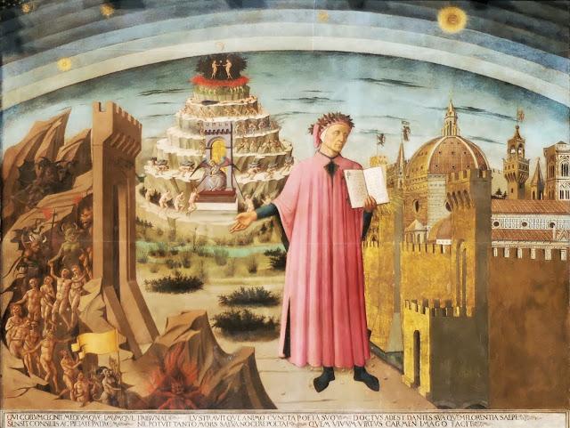 Cuadro de Michelino que mostraba a Dante ante las murallas de Florencia con un ejemplar de la Divina Comedia en la mano.