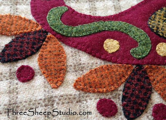Wool Applique by Rose Clay at ThreeSheepStudio.com