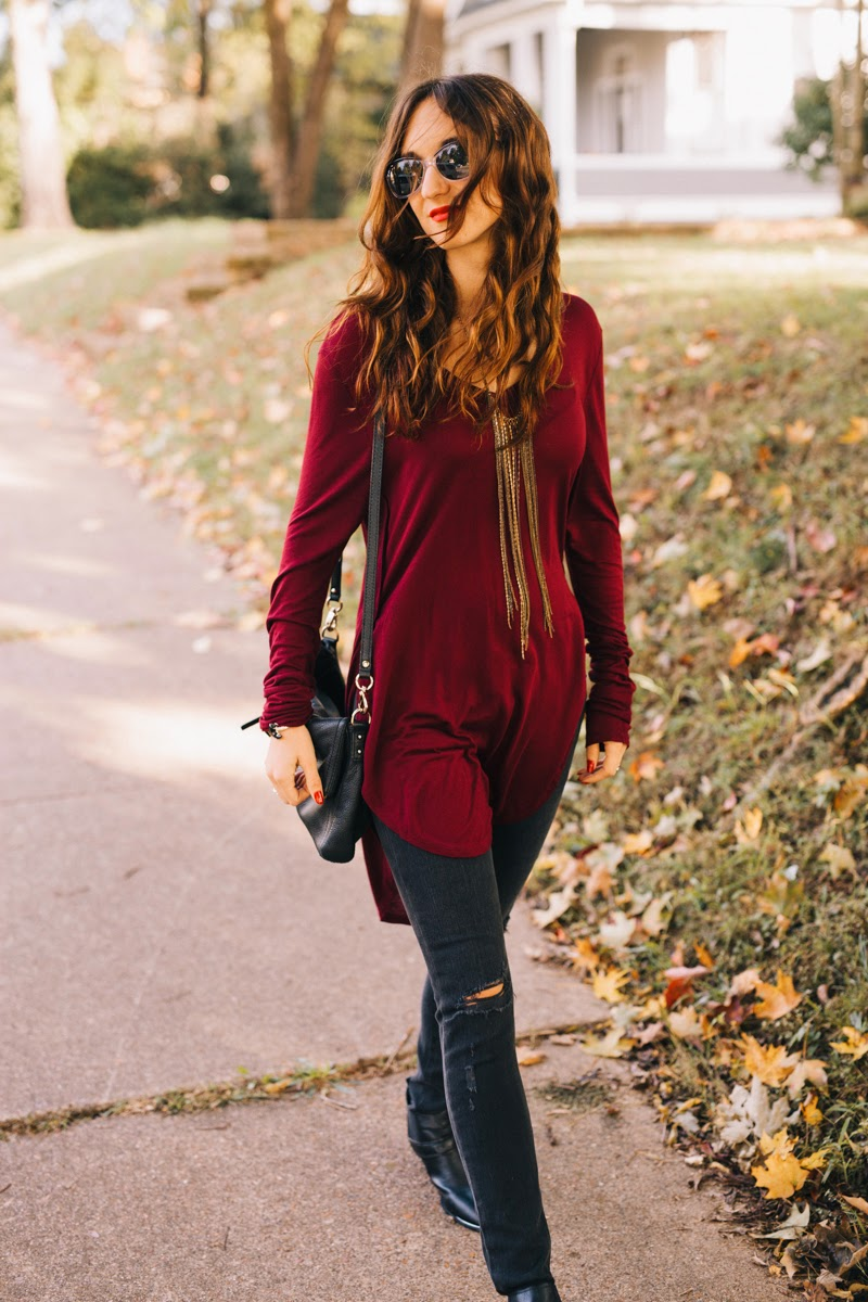 rag and bone jeans, sam edelman booties, booties with silver details, kate spade crossbody, kate spade cobble hill, black kate spade purse, circus by sam edelman, fringe necklace, dkny sunglasses, maroon top, fall fashion, fall style 2014