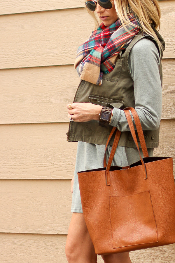 fall accessories plaid scarf vest wood watch