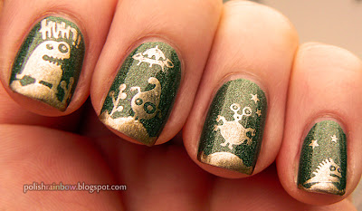 A England Dragon and Cheeky Stamping Plates Summer Collection with China Glaze Passion.