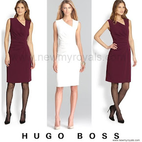 Queen Letizia Style Hugo Boss Dimaye Asymmetrical Sheath Dress