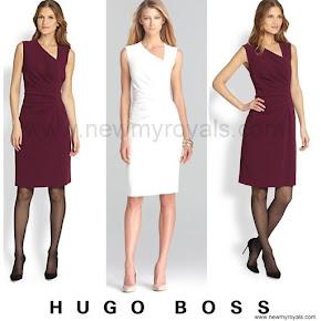Queen Letizia Style Hugo Boss Dimaye Asymmetrical Sheath Dress