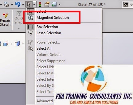 magnified selection in solidworks 2015