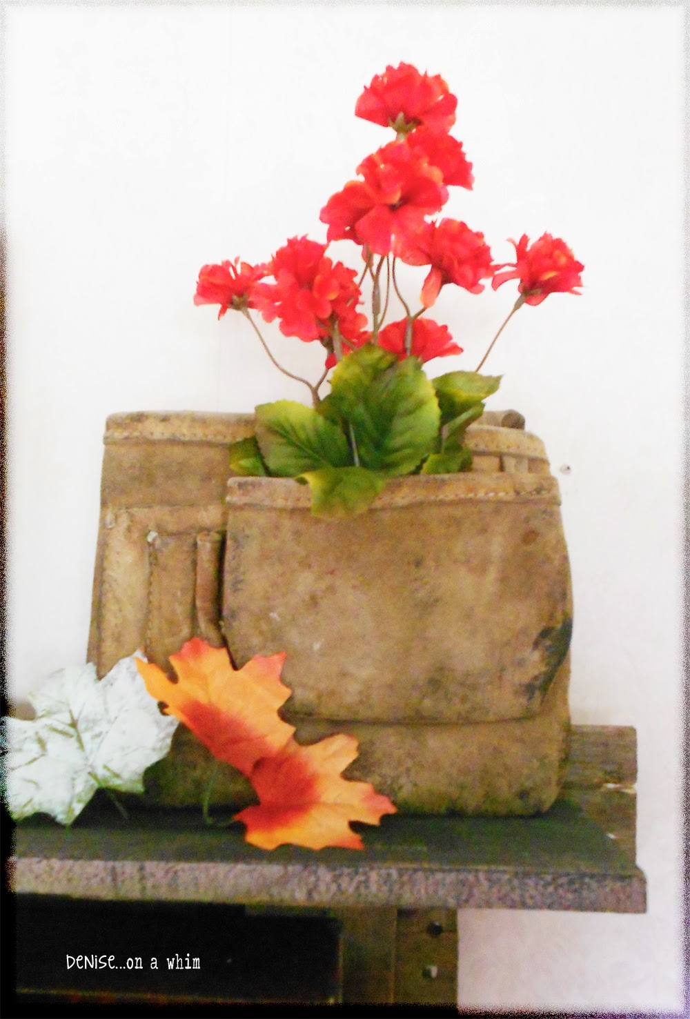 Leather Tool Holder with Flowers in a Fall Vignette from Denise on a Whim