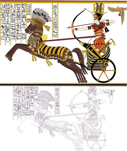 Jeroglíficos de Ramsés II vectoriales