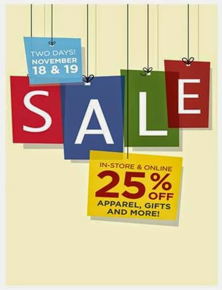image of the word sale, with a sticker that says 25% off apparel, gifts and more.