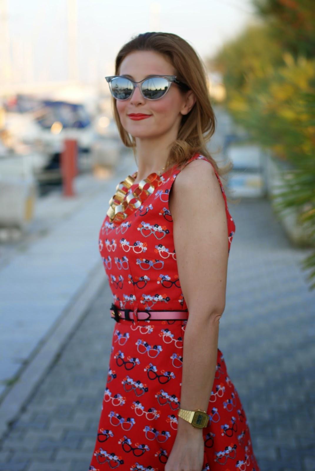 Dsquared2 cat eye mirror sunglasses, yumi glasses print dress, Fashion and Cookies, fashion blogger