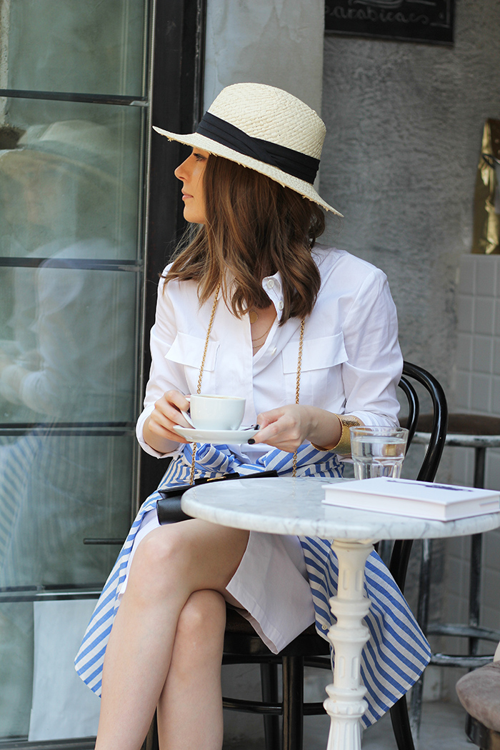 Fashion and style: White shirt dress