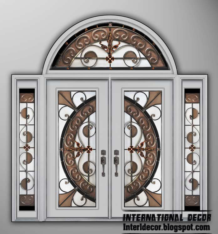 Wonderful White American Wooden Door With Stained Glass And Glided Glass