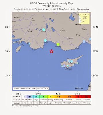 Epicentro terremoto 6,0 grados en Turquia, el 28 de Diciembre 2013