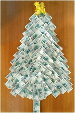 [Christmas tree made of banknotes]