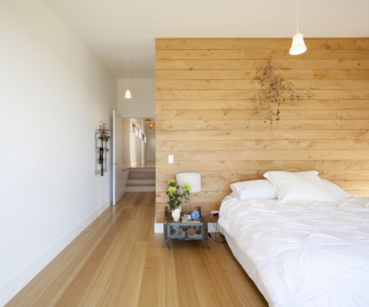 Contemporary bedroom in Wooden house in New Zealand