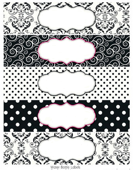 black and white damasks free printable toppers and labels oh my fiesta in english. Black Bedroom Furniture Sets. Home Design Ideas