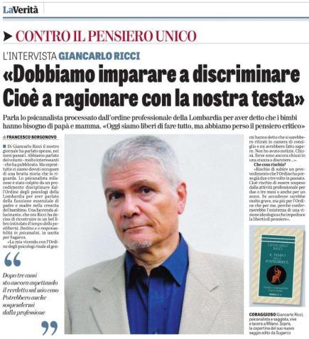Intervista  a G. Ricci su LA VERITA' del 26.1.2019