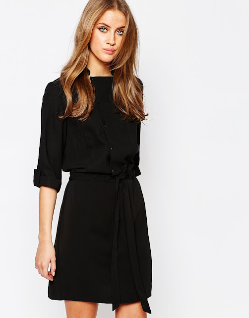 warehouse black button dress, black popper shirt dress,