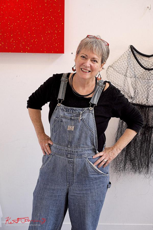 Sandy Wilkenfeld Sculptor & Painter - Artist portrait by Kent Johnson, Lennox St Artists Studios, Newtown Sydney Australia.