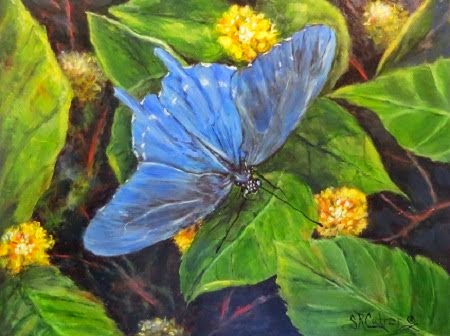 """Secrets Among the Flowers"", a Swallowtail Butterfly in oils"
