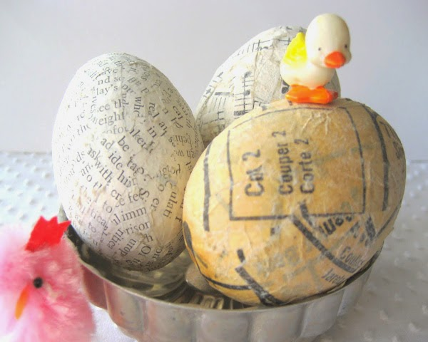 Newspaper decorated Easter eggs