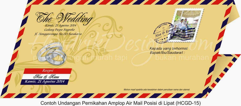 Contoh Undangan Pernikahan Amplop Air Mail (HCGD-15)