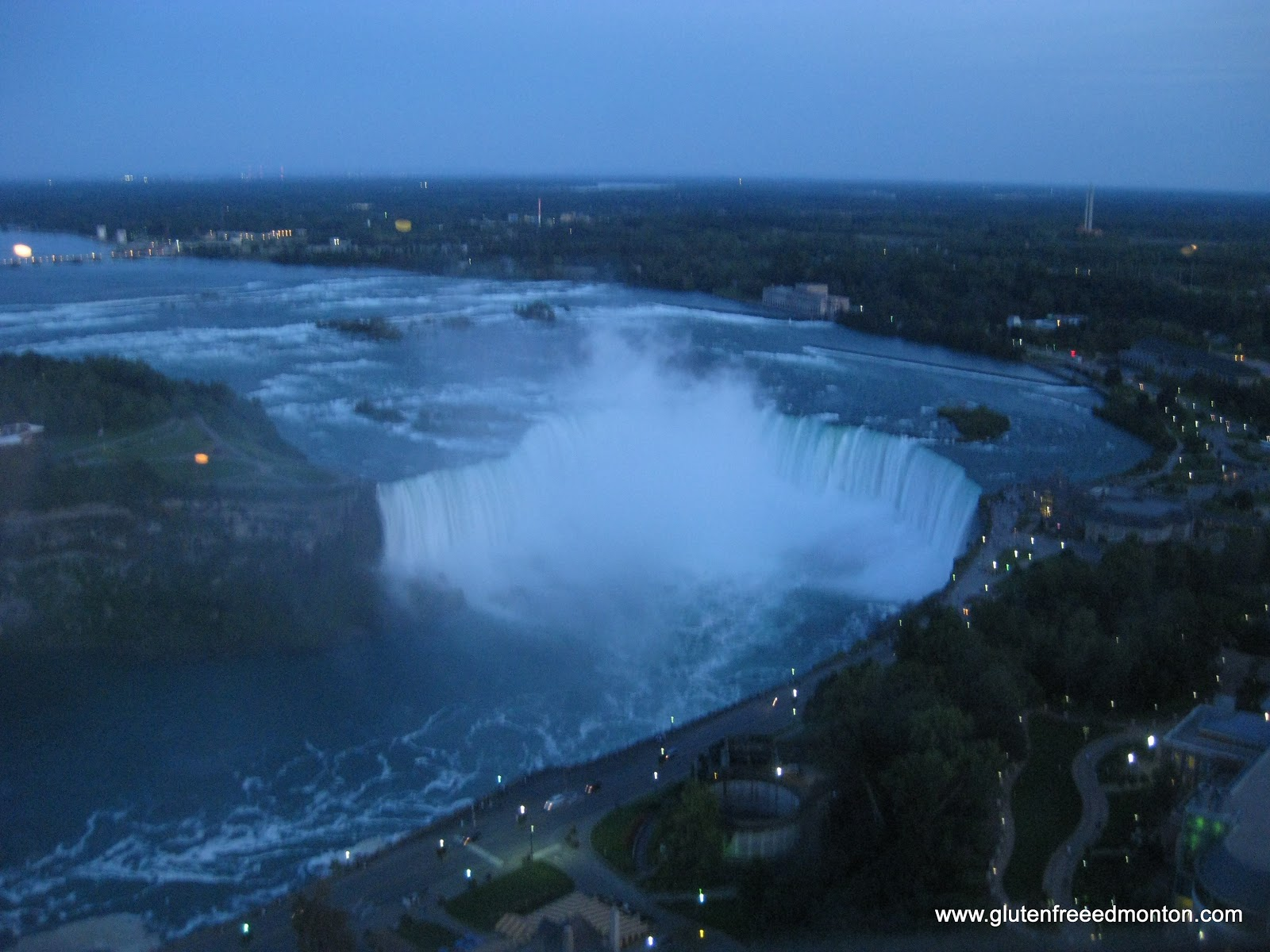 niagara falls and the skylon tower rotating dining room view at the beginning of dinner