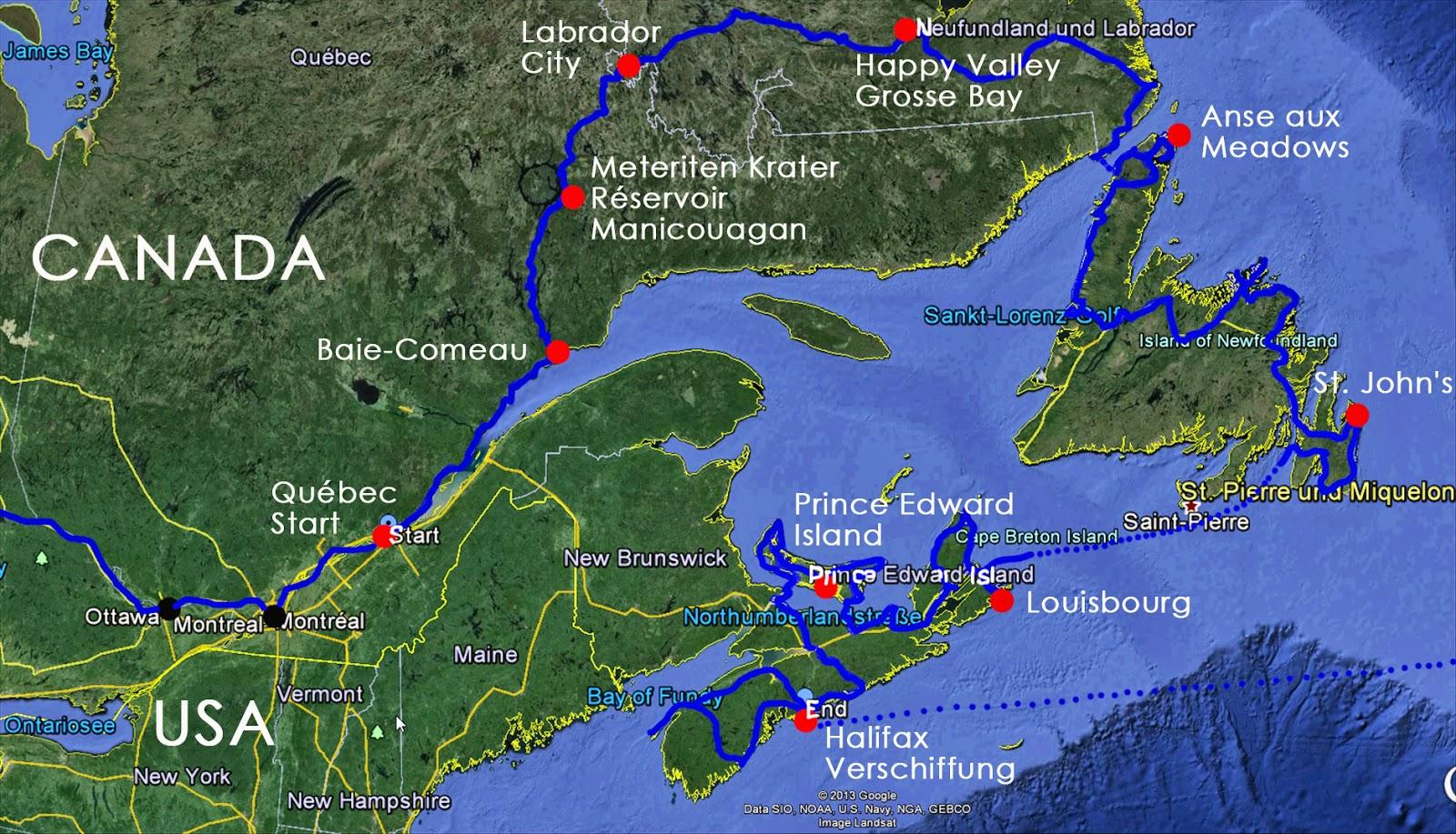 By Way Of  Auf Dem Weg Map  Reiseroute