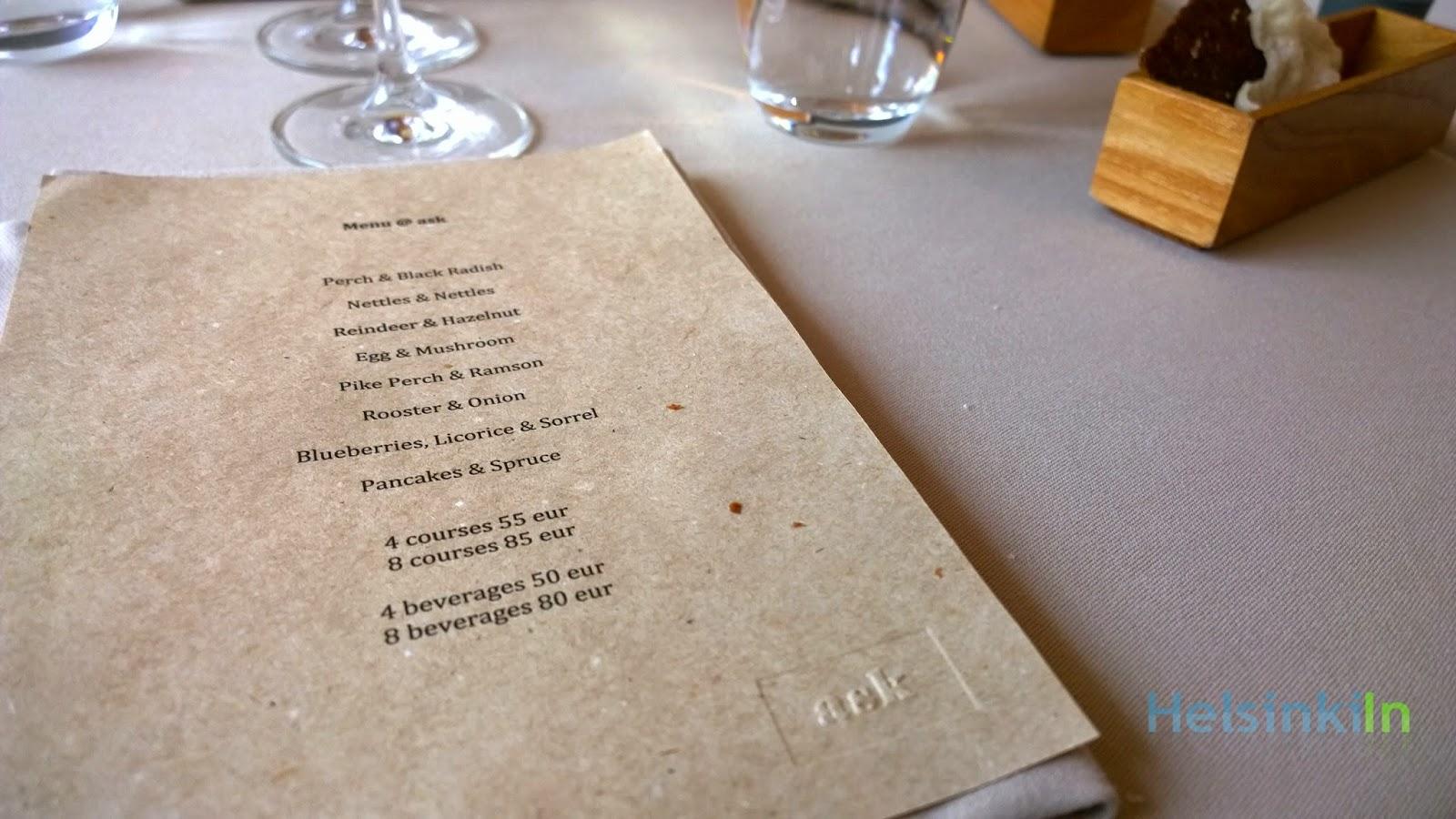 the menu at Ask