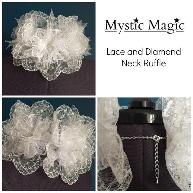 mystic magic, neck ruffle, designer fashion, lace, white, costume, fashion,