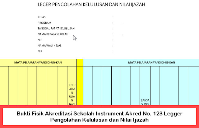 Bukti Fisik Akreditasi Sekolah Instrument Akred No. 123 Legger Pengolahan Kelulusan dan Nilai Ijazah