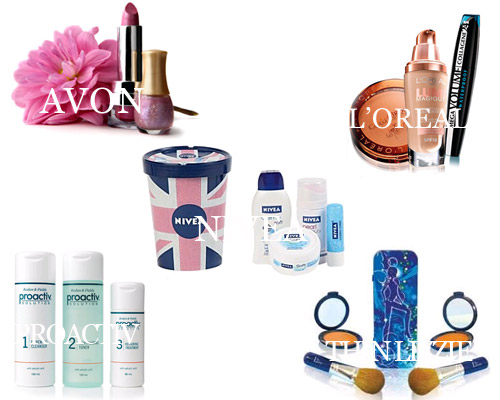 Pictures of 5 beauty-related brands: Avon, L'oreal, Nivea, Proactiv, Thin Lizzy