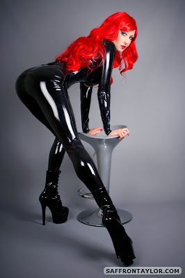 Saffron Taylor Tight Black Latex and Boots