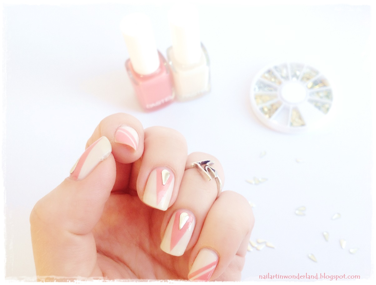 Girly Pink Geometric Nail Art with studs