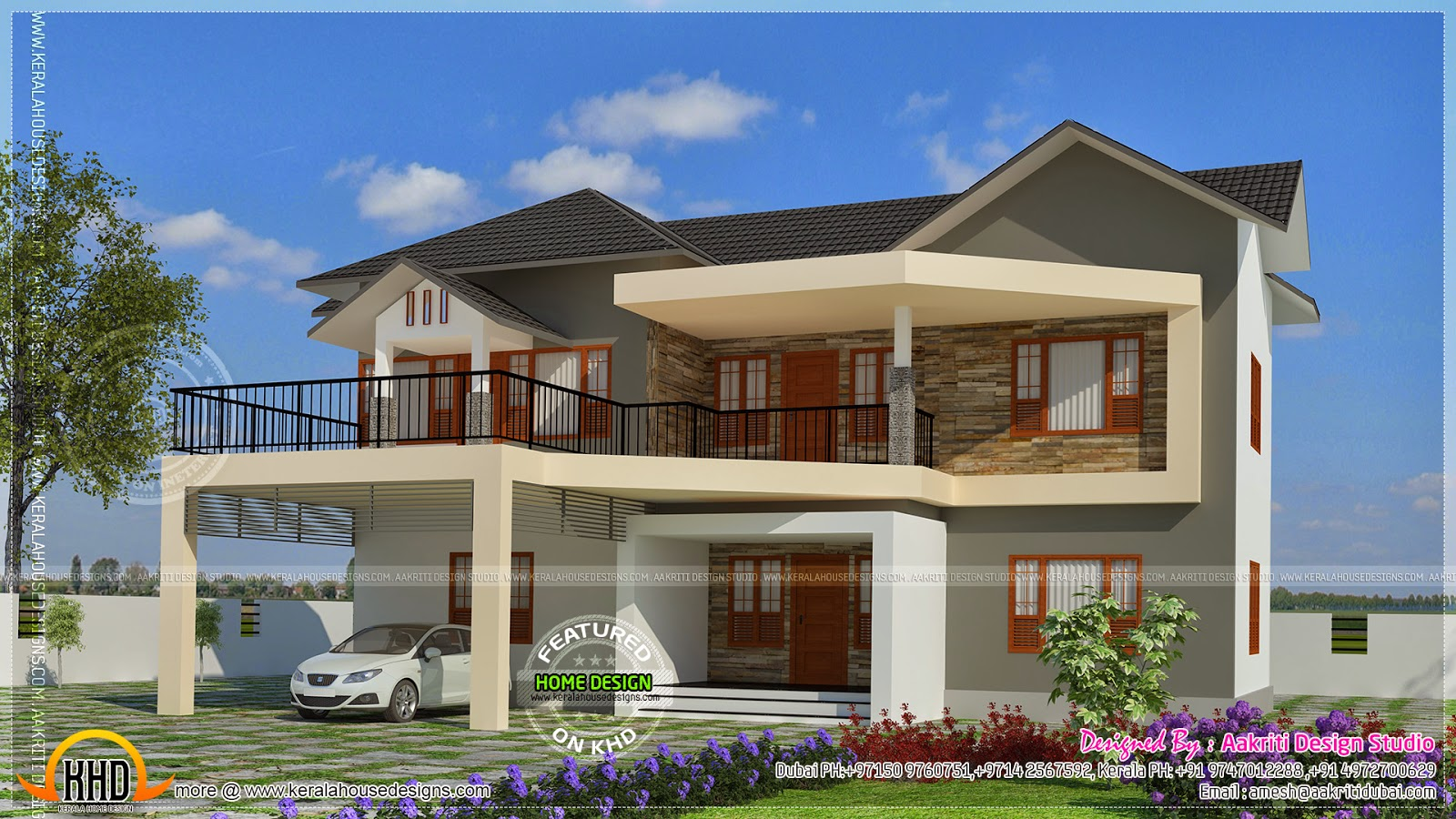 Elegant villa exterior kerala home design and floor plans for Kerala style villa plans