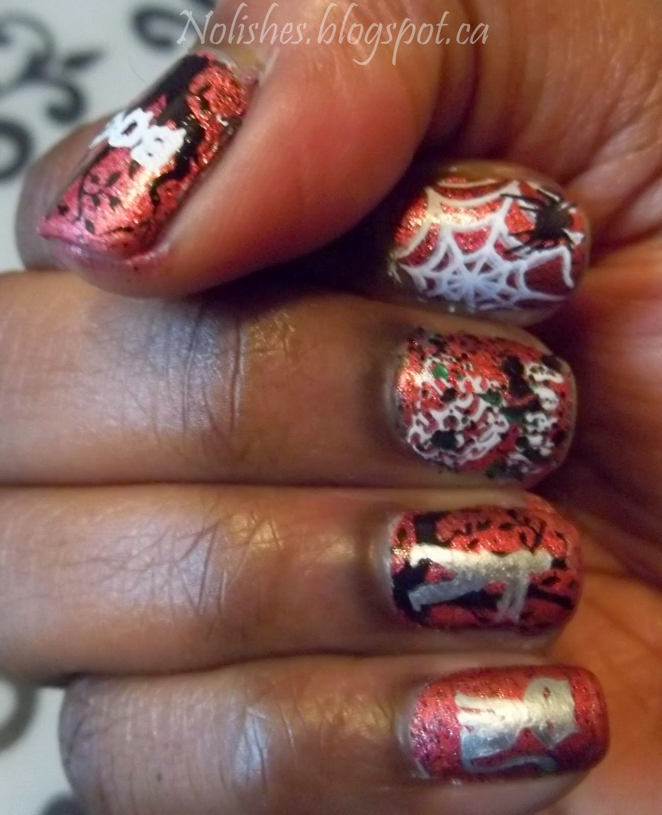 Halloween Themed Nail Stamping Test Mani, using Bunny Nails Stamping Plates BuNa-A, and HD-C. Polishes Used: China Glaze 'I Love Your Guts', Sally Hansen 'Silver Sweep', Sinful Colors 'Cauldron Couture', and Konad special polish in 'black' and 'white'.