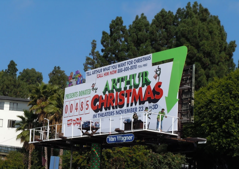 Arthur Christmas live billboard installation