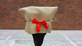 simple burlap, tied with a red bow