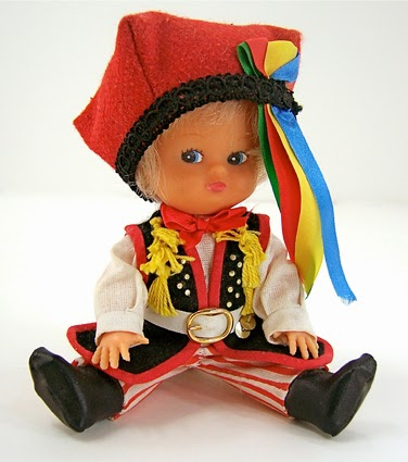 Boy doll with blue eyes and blonde hair dressed in a Krakowiak outfit from Poland at FreshRetroGallery.