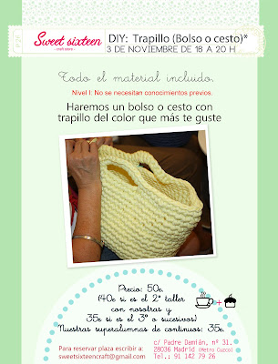 Taller 3 de noviembre en madrid, hazte un bolso o una cesta de trapillo.