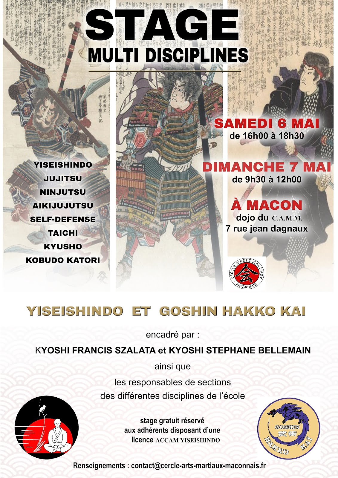 stage Goshin Hakko Kai 6 & 7 mai - Mâcon